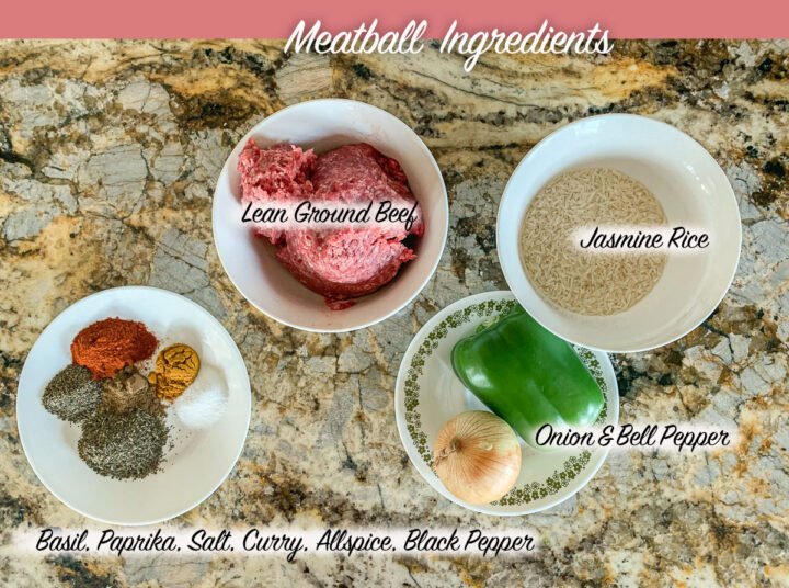 meatball soup ingredients, labeled
