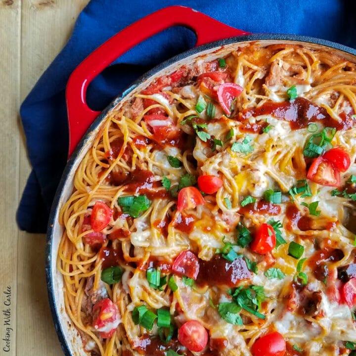 Pulled pork spaghetti in a pot