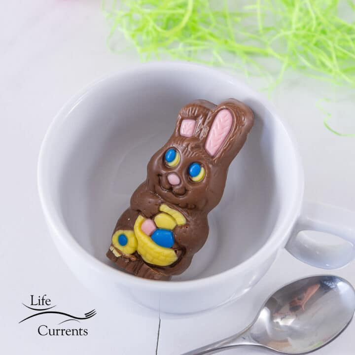 easter chocolate bunny in a white cup
