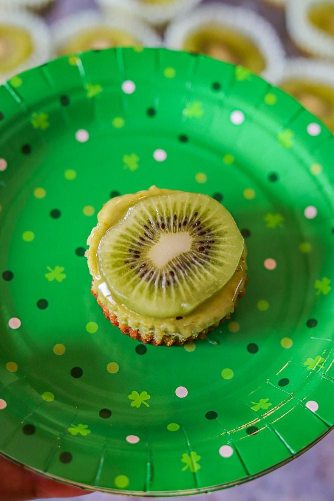 matcha dessert a green paper plate