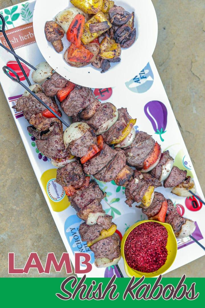 lamb shish kabob skewers on a plate