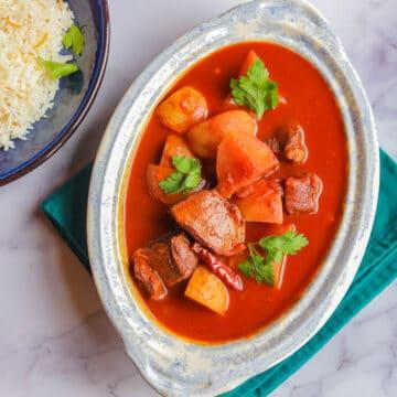 Shalgam stew and rice