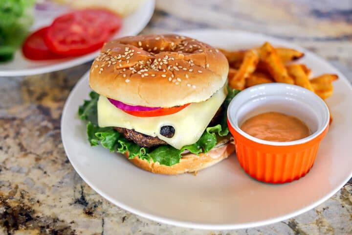 venison burger, sauce and fries