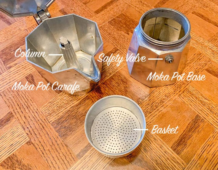 labeled moka pot parts