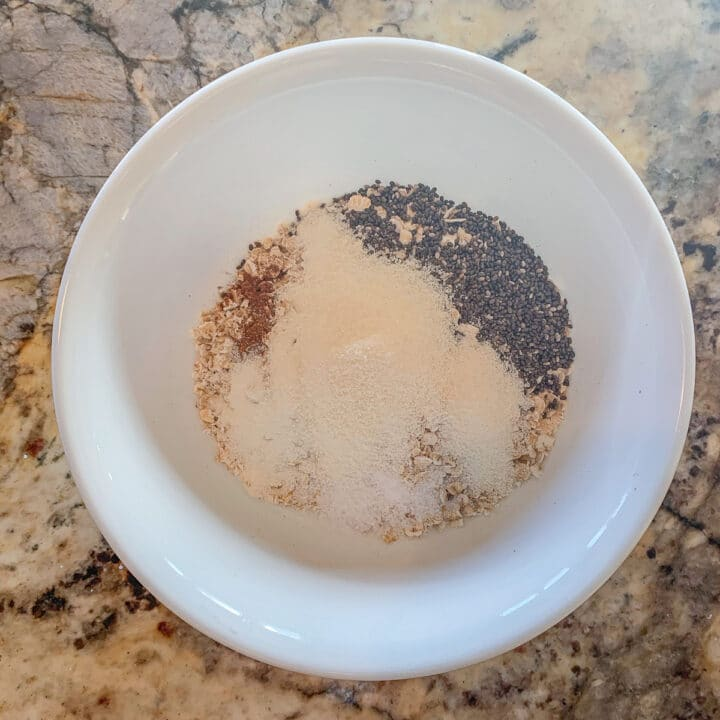 white bowl with Oats, and other ingredients