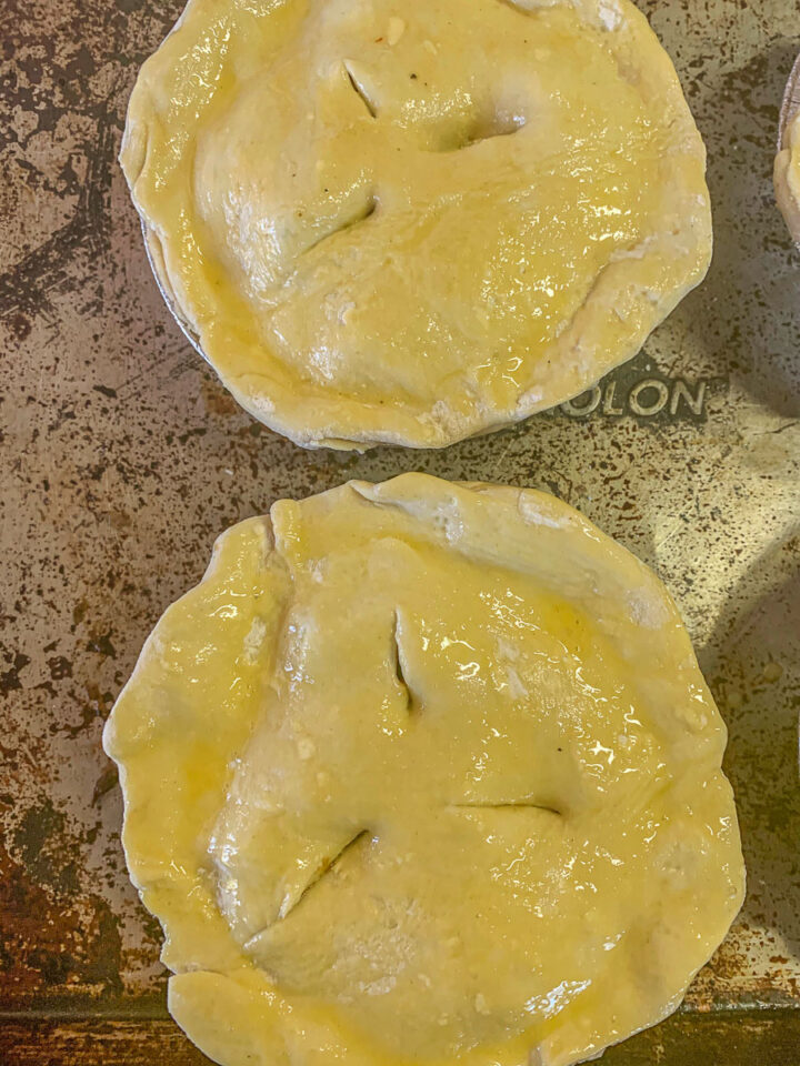 unbaked pies on a tray (meat pie recipe)