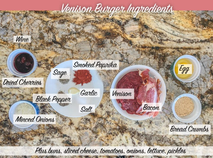 labeled venison burger ingredients