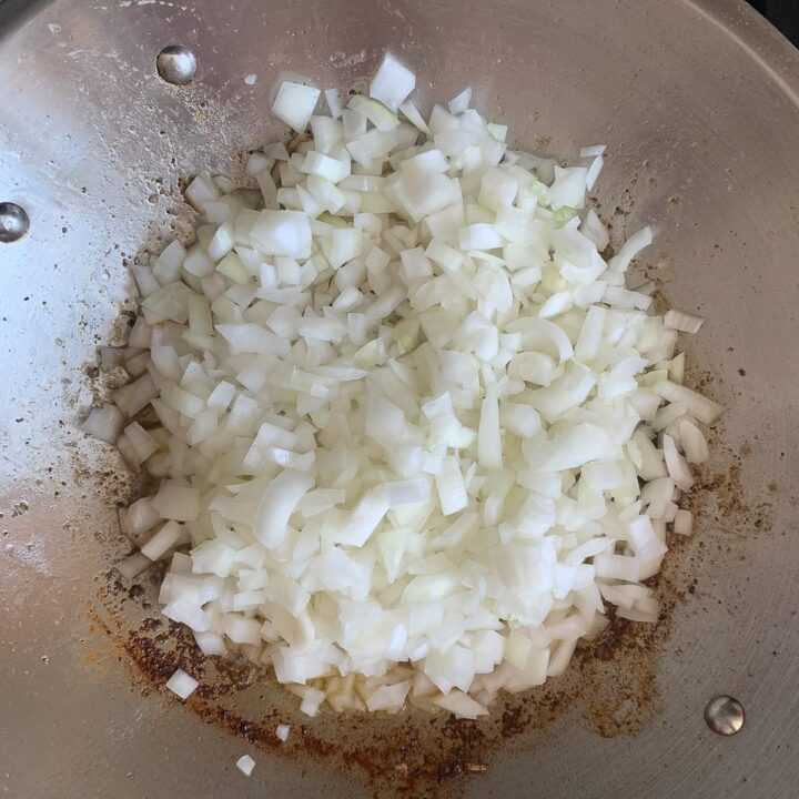 chopped onion in a pan