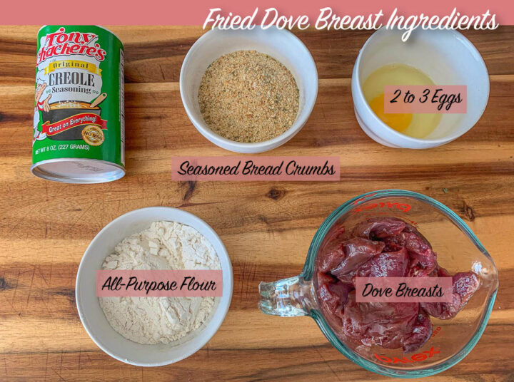 dove breast recipes ingredients, labeled