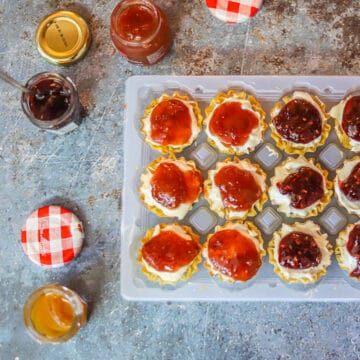 phyllo cups filled with jam