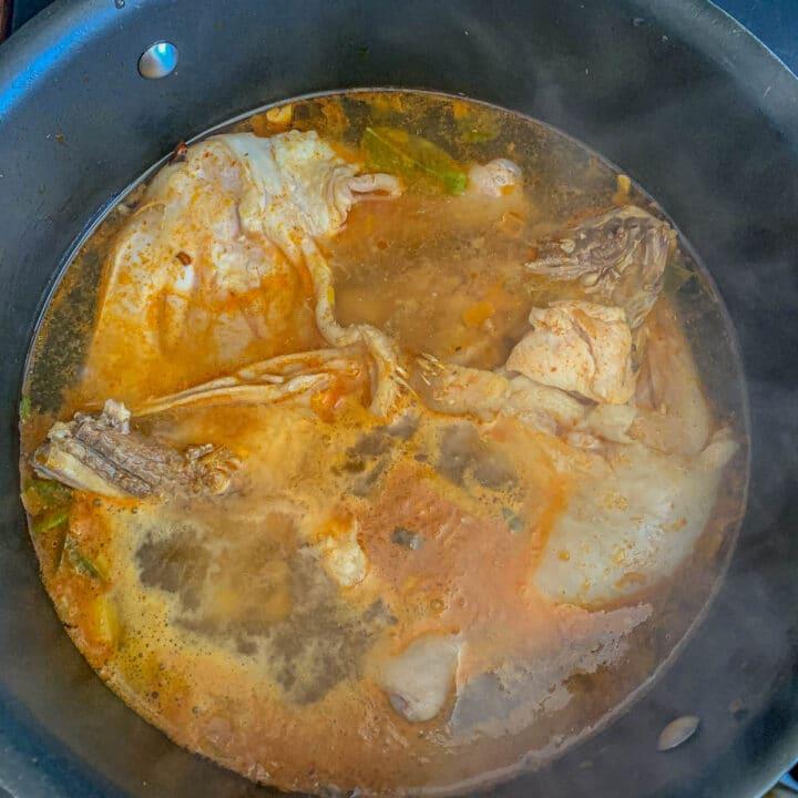Tom Kha soup being prepared