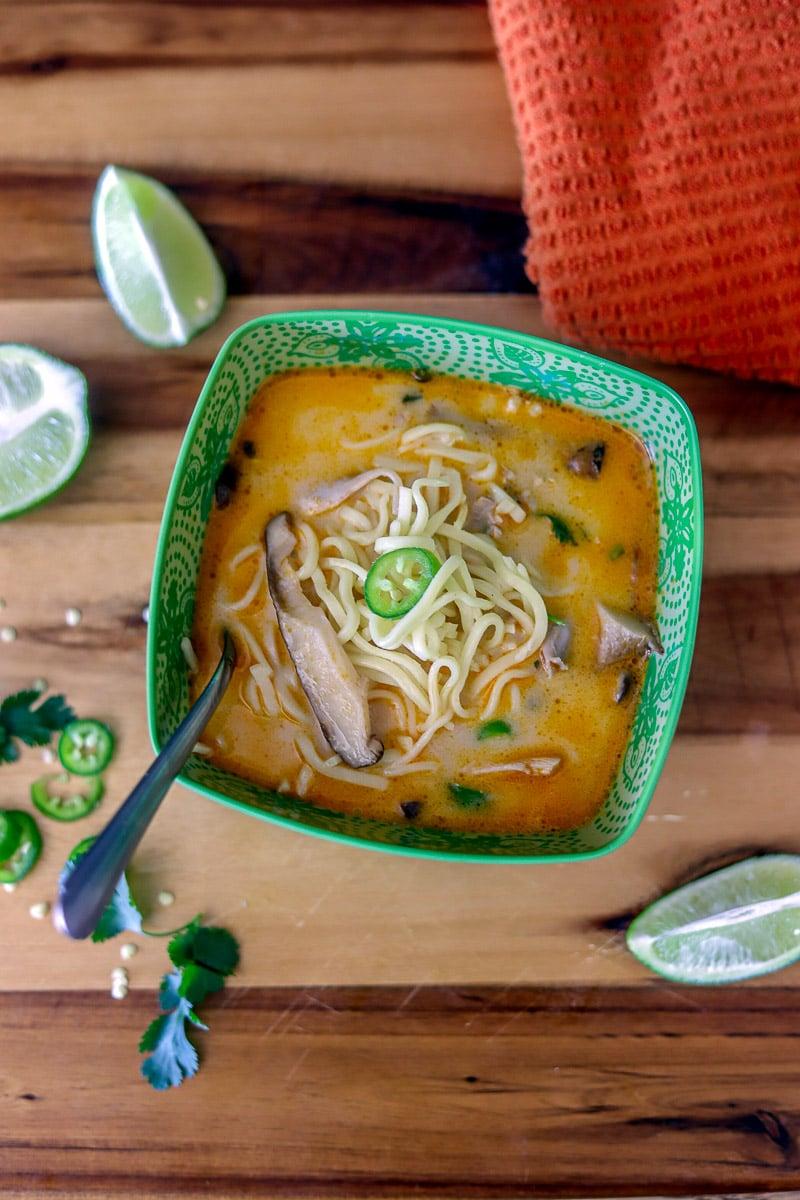 Tom Kha Gai over ramen noodles