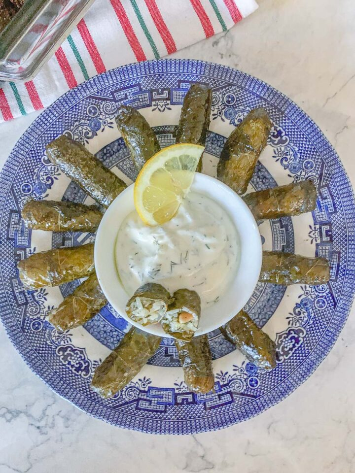 dolmadakia on a blue willow plate with yogurt sauce in the center