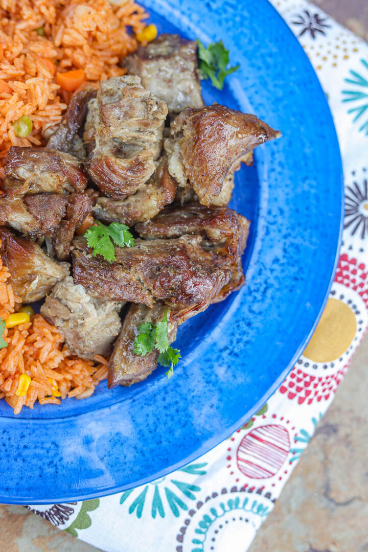 pressure cooker carnitas and rice on a blue plate