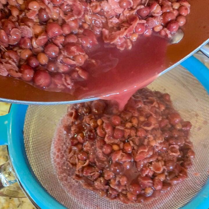 straining chokecherry juice through a blue strainer