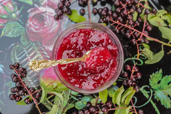 chokecherry jelly with chokecherries around it