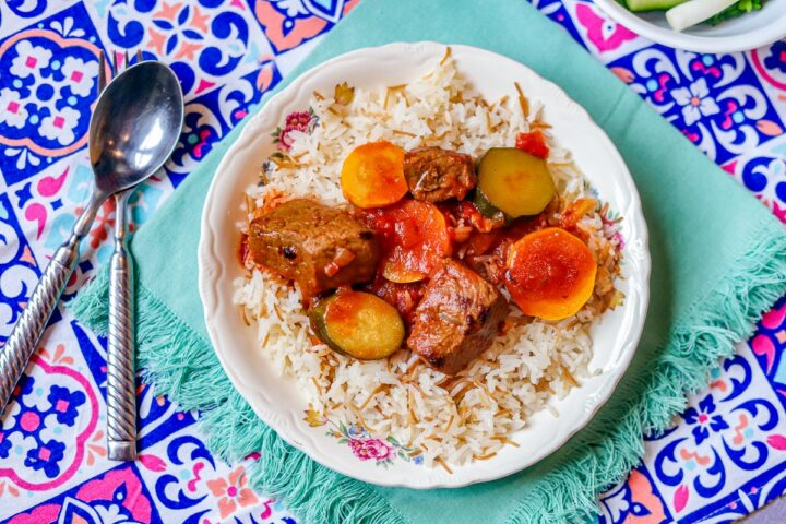 zucchini stew over rice