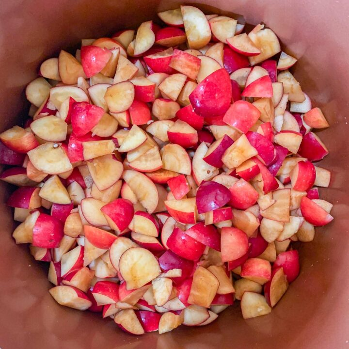 chopped crab apples in a pot