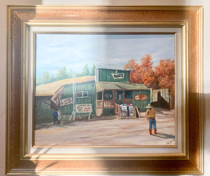 painting of a building