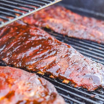 Traeger Ribs on a the grill
