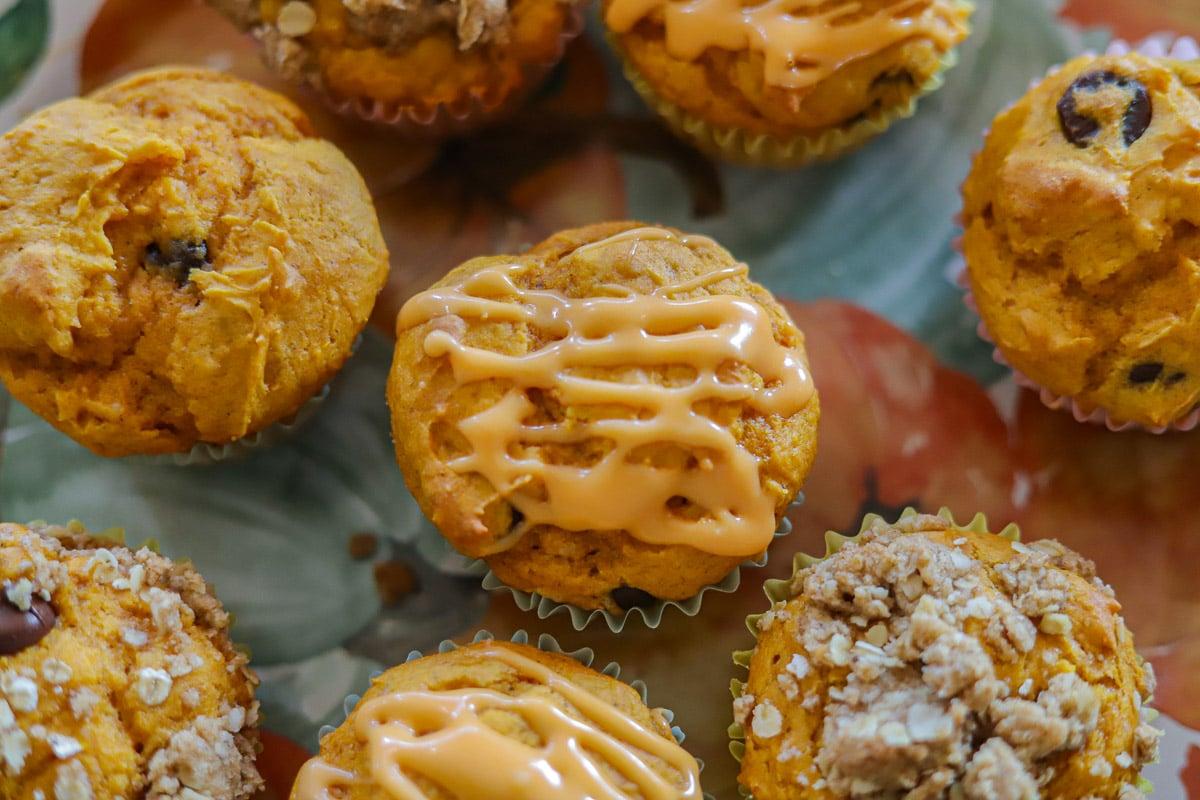 a plate of cake mix pumpkin muffins
