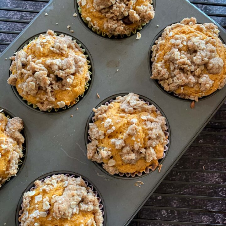 streusel topped cake mix pumpkin muffins