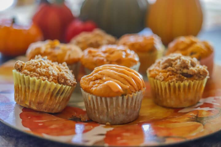 cake mix pumpkin muffins covered with icing