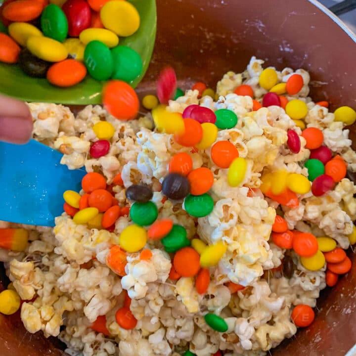 stirring m&m's into pop corn