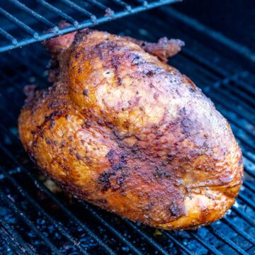 smoked turkey breast on the grill